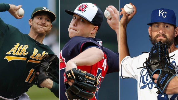 From left, the Athletics' Jarrod Parker, Braves' Kris Medlen and Royals' Luke Hochevar will sit out the 2014 major league season after undergoing elbow ligament replacement (Tommy John) surgery.