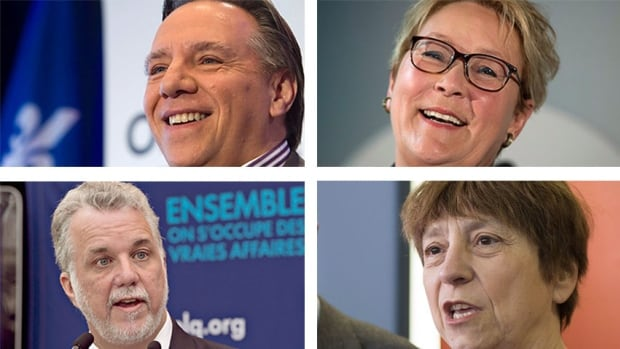 Thursday's debate will feature Coalition Avenir Québec Leader François Legault, Parti Québecois Leader Pauline Marois, Quebec Liberal Leader Philippe Couillard and Québec Solidaire co-spokesperson Françoise David (left to right, top to bottom).