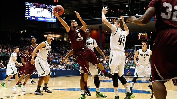 Jose Rodriguez of the Texas Southern Tigers goes to the basket against the Cal Poly Mustangs at UD Arena on March 19, 2014 in Dayton, Ohio.
