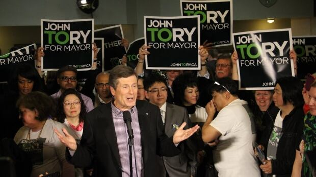 Addressing a crowd of supporters at the Polish Combatants' Hall in downtown Toronto, Tory pledged to lower taxes and reduce wasteful spending at city hall.