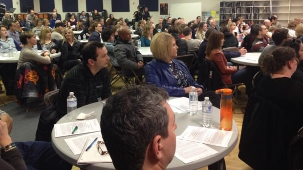 About 300 parents attended a meeting Wednesday evening to seek answers from the Pembina Trails School Division about changes in the works for two schools.