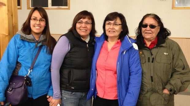 Newly-elected Kwanlin Dun Chief Doris Bill, third from left, celebrates Wednesday night with her daughter Cheyanne, left, sister Shirley and her mother Maggie, far right.