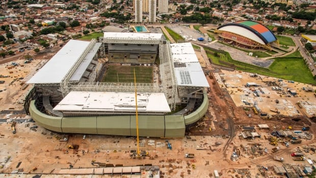 An aerial view of the Arena Pantanal in Cuiaba, Brazil, in January.