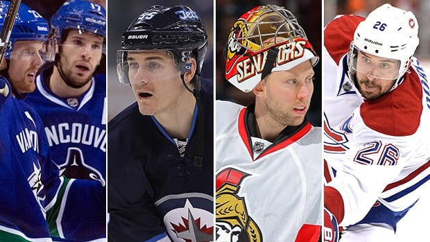 From left to right, Daniel Sedin, Ryan Kesler, Mark Scheifele, Craig Anderson, and Josh Gorges are all currently sidelined with injuries.