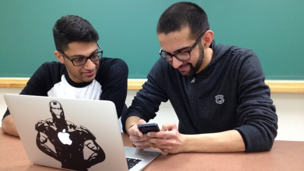 Adnan Patel, left, and Mehdi Aghakazem Jourabbaf, right, started working on the Notewalk app in June 2013. It launched in late January. Not pictured is Mahmoud Hosseini, who also works on the app. All three are co-founders.