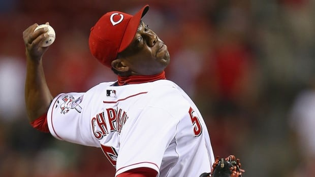 Reds doctor Tim Krenchek says a metal plate will be inserted in a broken bone above closer Aroldis Chapman's left eye and will remain there permanently. He was hit by a line drive during Wednesday's spring training game against Kansas City.