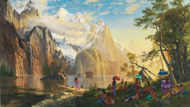 Artist Kent Monkman, of Cree/Irish ancestry, works with a variety of mediums, including painting, film/video, performance, and installation. Above is Monkman's 'Sunday in the Park,' acrylic on canvas, 2010.