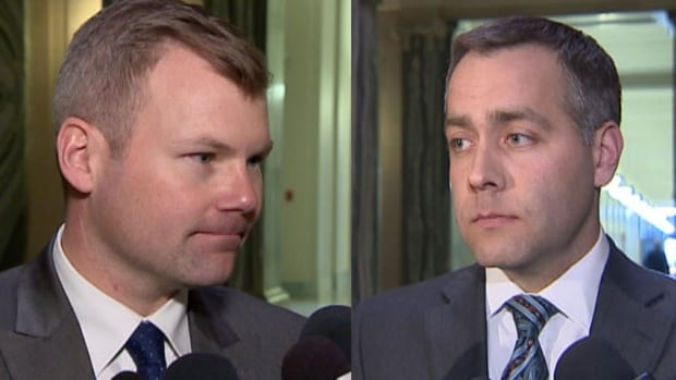 Health Minister Dustin Duncan, left, defended the government's spending plans for health in response to criticism from NDP Opposition Leader Cam Broten, right.