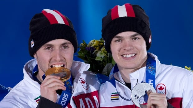 Alex Bilodeau, right, and Mikael Kingsbury finished 1-2 respectively at the Sochi Olympics, enabling Bilodeau to defend his Olympic title.