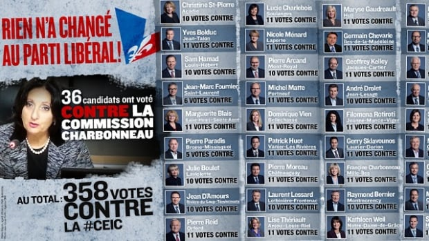 The Parti Québécois released an attack ad against the Liberals using Justice France Charbonneau's likeness despite her previous statements about wanting the corruption inquiry to remain politically neutral.