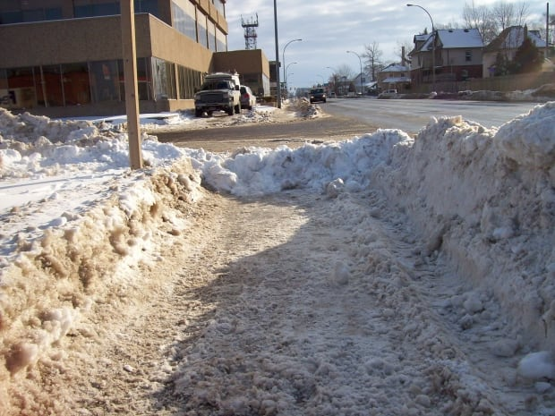 Plowed-in sidewalk