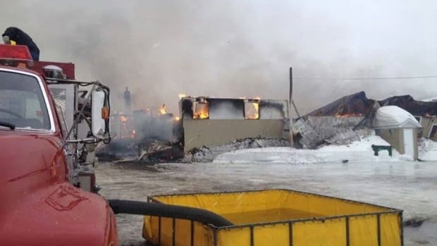 The Arena Saint-Arthur near Campbellton, N.B., was destroyed by fire Friday afternoon.