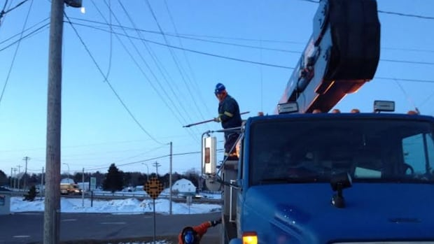 Martitime Electric crews work on a line that caused a power outage in many areas east of Charlottetown.