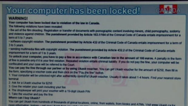 Ransomware is malware that freezes access to the computer system it infects. The software then demands a ransom be paid to the creator of the malware in order for the restriction to be removed.