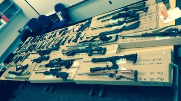 Police seized guns at the border