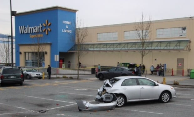 Van plows through Wal-Mart parking lot in East Vancouver