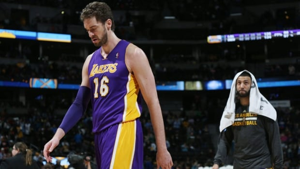 Los Angeles Lakers centre Pau Gasol, left, is not expected to play Tuesday against the New York Knicks.