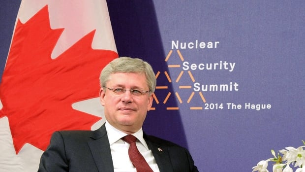 Prime Minister Stephen Harper takes part in a meeting during the nuclear security summit in The Hague, Netherlands, on Tuesday. Canada is among 35 countries to sign an international agreement on nuclear safety.