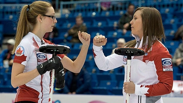 Canada skip Rachel Homan, right, and second Alison Kreviazuk earned a silver medal at the recently completed women's world curling championship in Saint John, N.B.