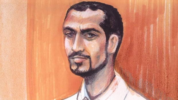 Omar Khadr, from a courtroom sketch in Edmonton, in September 2013.