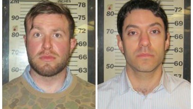 CNN producers Yon Pomrenze, 35, left, and Connor Fieldman Boals, 26, were arrested after allegedly trying to break into the World Trade Center construction site in New York City.