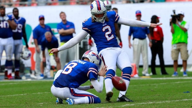 Buffalo Bills kicker Dan Carpenter (2) and the rest of his NFL colleagues will be kicking extra points from the 20-yard-line during a two-week experiment in the pre-season.