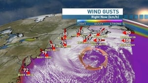 Maritime storm wind gusts Nova Scotia