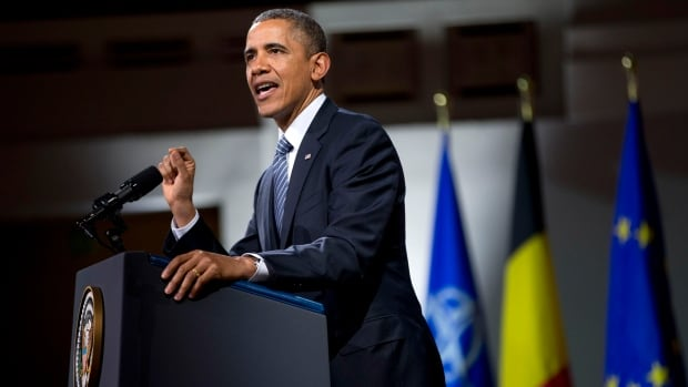 U.S. President Barack Obama speaks in Brussels, Belgium, to shore up commitments he received from allies to reassure Eastern European members of NATO amidst the crisis in Ukraine.