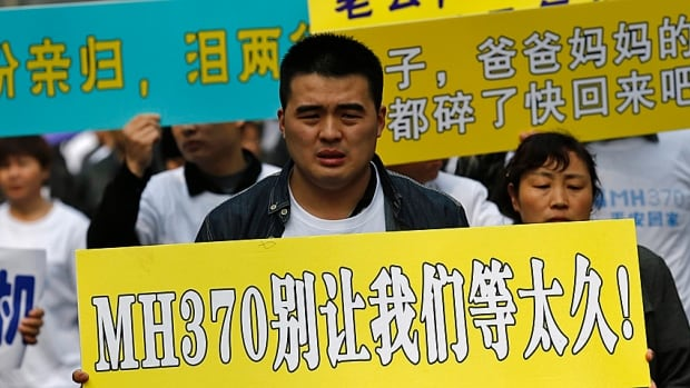 Seemingly encouraged by the Chinese government., angry relatives of Chinese passengers aboard missing Malaysian Airlines Flight MH370 plane protested outside the Malaysian Embassy in Beijing on Tuesday,