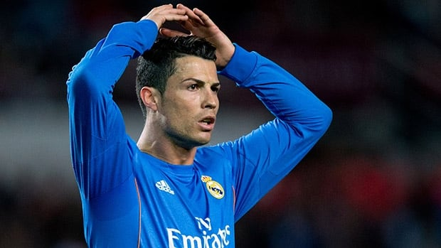 Cristiano Ronaldo of Real Madrid reacts as he fails to score against Sevilla at Estadio Ramon Sanchez Pizjuan on March 26, 2014 in Seville, Spain.
