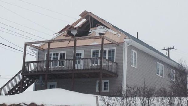 This home in Norris Point sustained damages during a storm that raged through western Newfoundland on Wednesday night and Thursday morning.