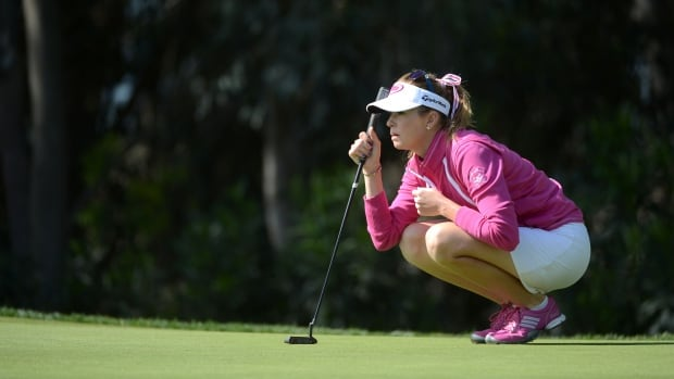 CARLSBAD, CA - MARCH 27: Paula Creamer studies the 1st green during the KIA Classic Pro-Am at the Aviara Golf Course on Thursday.