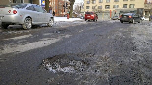 Potholes are prevalent in Saskatoon.