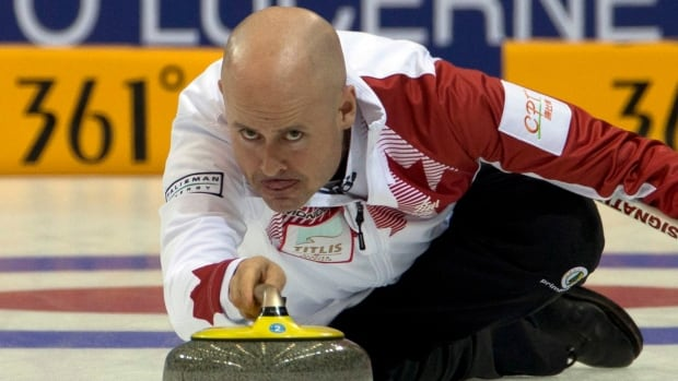 Canada's Kevin Koe during the match against Denmark at the Capital Gymnasium in Beijing, China, Saturday, March 29, 2014.