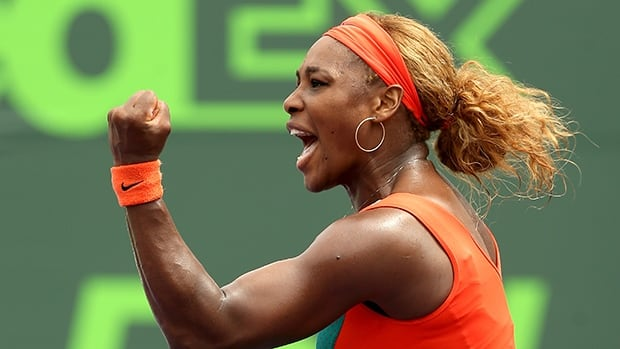 Serena Williams celebrates winning the first set against Li Na at the Crandon Park Tennis Center on March 29, 2014 in Key Biscayne, Florida.