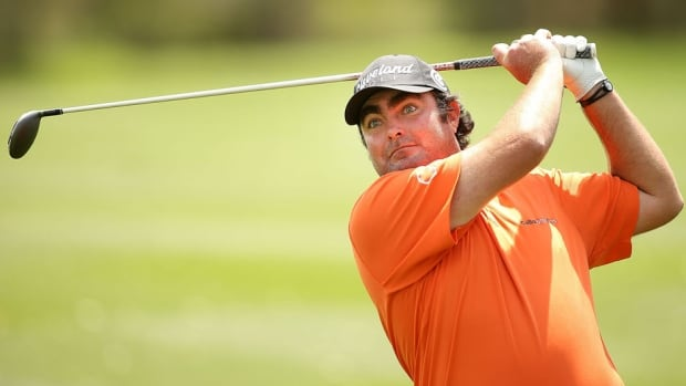 Steven Bowditch plays his shot on the eighth hole during Round Three of the Valero Texas Open at TPC San Antonio AT&T Oaks Course on Saturday in San Antonio, Texas.