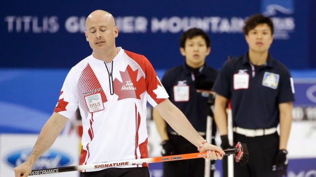 Kevin Koe reacts after delivering a throw during the match against Japan at the Capital Gymnasium in Beijing, China, Sunday, March 30, 2014.