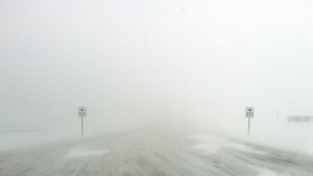 Blowing and drifting snow on Highway 75 heading south on Monday morning.