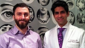 Beard transplant recipient Rudy Ionides with Dr. Jamil Asaria