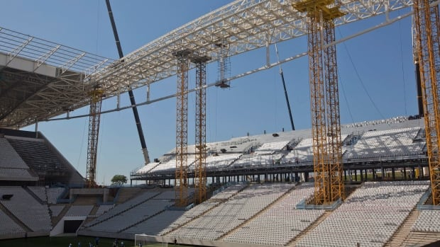 The construction company said in a statement that the fatal incident occurred when a worker fell about 26 feet while helping install temporary seats at the Itaquerao Stadium in Sao Paulo.