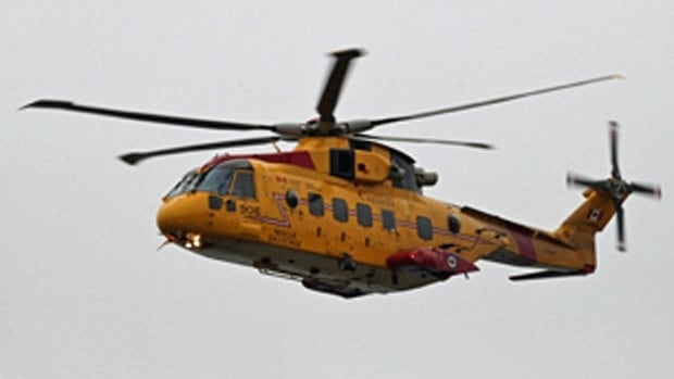 A Cormorant helicopter rescued two people in Baxters Harbour Sunday night.