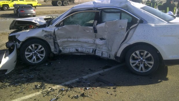 A STARS air ambulance was used to take the driver of this Ford Taurus to hospital.