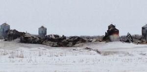 Ruins of burnt barn near Burr, Sask.