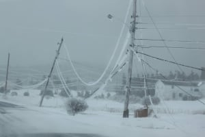 Power lines weighed down by ice