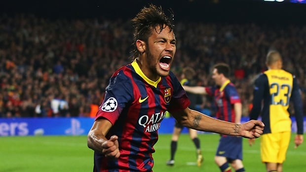 Neymar of Barcelona celebrates his goal during the UEFA Champions League quarter-final against Club Atletico de Madrid at Camp Nou on Tuesday in Barcelona, Spain.