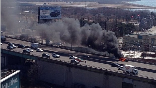 A car caught fire in the eastbound lane of the Gardiner Expressway.