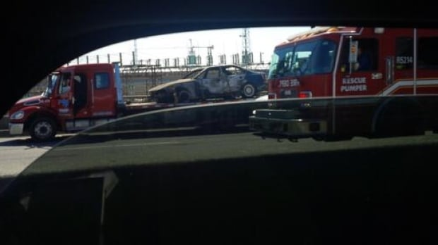 Burned-out BMW