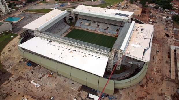 An aerial view of the construction of the Arena Pantanal soccer stadium, which will host several matches of the 2014 World Cup, in Cuiaba. It's set to host its first match with only half of the stadium's seats installed.