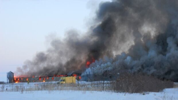 Olysky barn fire near Lanigan