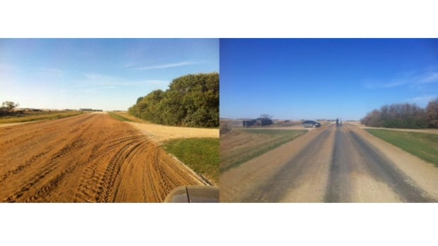 The road on the left was treated with used canola. After a while the same road, on the right, is smoother and kicks up less dust.
